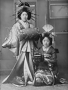 Two Geisha. Photograph late 19th century. Geisha, Japanese courtesans and entertainers in traditional dress.