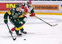 2019-12-02 | Umeå, Sweden:Mora (96) Niki Petti battles for the puck with Björklöven (22) Fredric Weigel in  HockeyAllsvenskan during the game  between Björklöven and Mora at A3 Arena ( Photo by: Michael Lundström | Swe Press Photo )<br /> <br /> Keywords: Umeå, Hockey, HockeyAllsvenskan, A3 Arena, Björklöven, Mora, mlbm191202