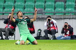 Rok Kronaveter of Slovenia celebrates after Kronaveter scored first goal for Slovenia during football match between National teams of Slovenia and Slovakia in Round #2 of FIFA World Cup Russia 2018 qualifications in Group F, on October 8, 2016 in SRC Stozice, Ljubljana, Slovenia. Photo by Ziga Zupan / Sportida