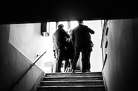 """Denis Verdini (center), national coordinator of Silvio Berlusconi's People of Freedom party (PdL, popolo della Libertà), leads a meeting in a staircase of the Capranica Theatre during the PdL national convention in which Silvio Berlusconi, former PM and leader of The People of Freedom party, presents the PdL candidates for the upcoming 2013 general election in Rome, Italy, on January 25, 2013. <br /> <br /> A general election to determine the 630 members of the Chamber of Deputies and the 315 elective members of the Senate, the two houses of the Italian parliament, took place on 24–25 February 2013. The main candidates running for Prime Minister are Pierluigi Bersani (leader of the centre-left coalition """"Italy. Common Good""""), former PM Mario Monti (leader of the centrist coalition """"With Monti for Italy"""") and former PM Silvio Berlusconi (leader of the centre-right coalition).<br /> <br /> ###<br /> <br /> ROMA, ITALIA - 24 GENNAIO 2013: Denis Verdini (centro), coordinatore nazionale del Popole della Libertà di Silvio Berlusconi, conduce una riunione in una scala della Teatro Capranica durante la convention nazionale del PdL in cui l'ex-premier e leader del Popolo della Libertà presenta i candidati PdL alle prossime elezioni politiche, a Roma il 24 gennaio 2013.<br /> <br /> Le elezioni politiche italiane del 2013 per il rinnovo dei due rami del Parlamento italiano – la Camera dei deputati e il Senato della Repubblica – si terranno domenica 24 e lunedì 25 febbraio 2013 a seguito dello scioglimento anticipato delle Camere avvenuto il 22 dicembre 2012, quattro mesi prima della conclusione naturale della XVI Legislatura. I principali candidate per la Presidenza del Consiglio sono Pierluigi Bersani (leader della coalizione di centro-sinistra """"Italia. Bene Comune""""), il premier uscente Mario Monti (leader della coalizione di centro """"Con Monti per l'Italia"""") e l'ex-premier Silvio Berlusconi (leader della coalizione di centro-destra).ROME, ITALY - 24 JANUARY 2013: Silvio Berl"""