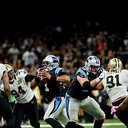 Oct 16, 2016; New Orleans, LA, USA; Carolina Panthers quarterback Cam Newton (1) is pressured by New Orleans Saints defensive end Cameron Jordan (94) during the third quarter of a game at the Mercedes-Benz Superdome. The Saints defeated the Panthers 41-38. Mandatory Credit: Derick E. Hingle-USA TODAY Sports