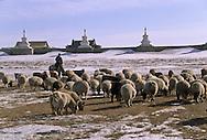 Mongolia. Erden Zuu . Hahorin.buddhist temple. in the snow    /   Le temple bouddhiste de Erden Zuu . en hiver