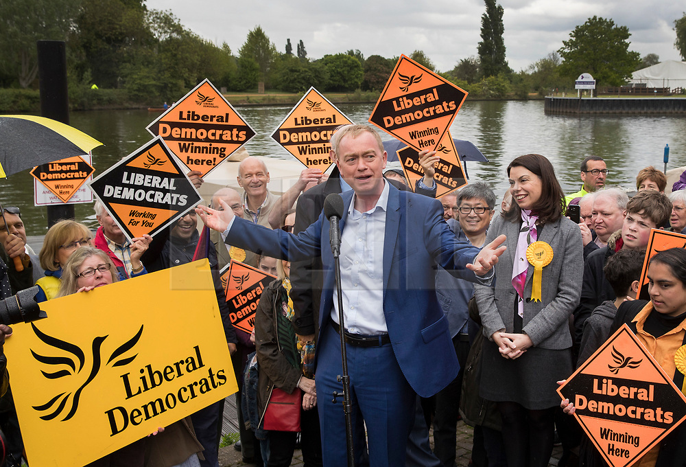 © Licensed to London News Pictures. 01/05/2017. London, UK. Liberal Democrat party leader Tim Farron speaks to supporters watched by Parliamentary candidate Sarah Olney (R) - as a day of campaigning begins in Kingston-Upon-Thames. The general election is on June 8th 2017. Photo credit: Peter Macdiarmid/LNP