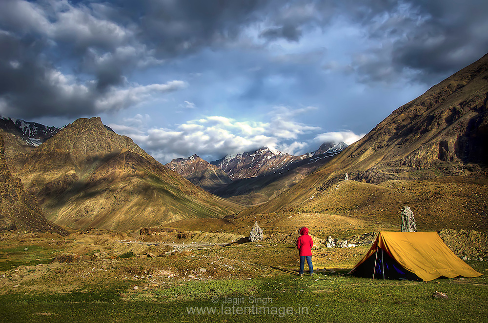 Sarchu, a tented camp in the Himalayas on the Leh-Manali Highway, on the boundary between Himachal Pradesh and Ladakh in India. It is situated between Baralacha La to the south and Lachulung La to the north, at an altitude of 4,290 m