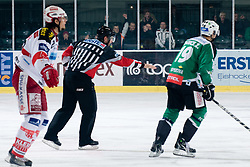 Referee Thomas Berneker confirms Olimpija's second goal after watching video judge during ice-hockey match between HDD Tilia Olimpija and EC KAC in 32nd Round of EBEL league, on December 30, 2010 at Hala Tivoli, Ljubljana, Slovenia. (Photo By Matic Klansek Velej / Sportida.com)