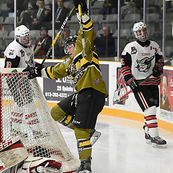 "TRENTON, ON  - MAY 4,  2017: Canadian Junior Hockey League, Central Canadian Jr. ""A"" Championship. The Dudley Hewitt Cup. Game 5 between Powassan Voodoos and the Georgetown Raiders. Parker Bowman #17 of the Powassan Voodoos celebrates the goal during the second period.<br /> (Photo by Andy Corneau / OJHL Images)"