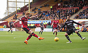 28th April 2018, Fir Park, Motherwell, Scotland; Scottish Premier League football, Motherwell versus Dundee; Charles Dunne of Motherwell fails to block Simon Murray of Dundee's shot