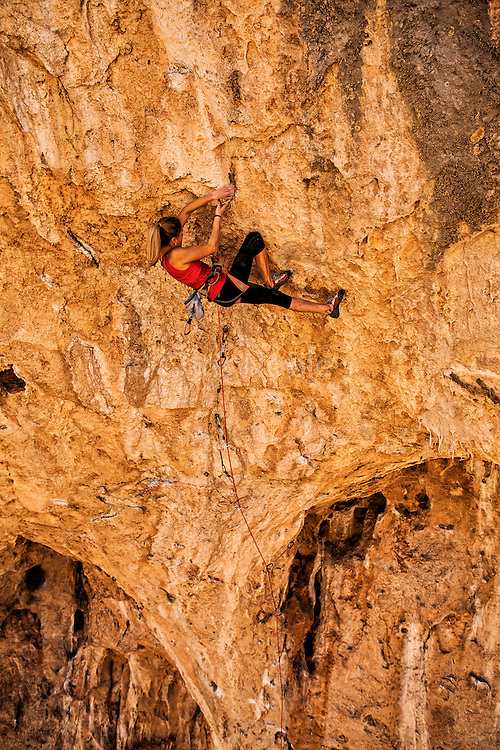 "Sasha DiGiulian climbing a route named ""Golden"" rated14b at ""The Cathedral,"" near St. George Utah."