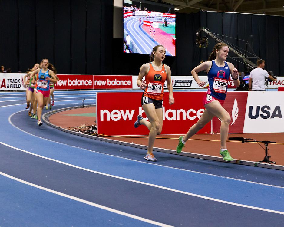 New Balance Indoor Grand Prix track meet: Junior GIrls Mile, Ryen Frazier , Sarah Gillespie