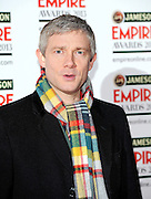 24.MARCH.2013. LONDON<br /> <br /> MARTIN FREEMAN ATTENDS THE 18TH JAMESON EMPIRE FILM AWARDS 2013 AT GROSVENOR HOUSE IN LONDON<br /> <br /> BYLINE: EDBIMAGEARCHIVE.CO.UK<br /> <br /> *THIS IMAGE IS STRICTLY FOR UK NEWSPAPERS AND MAGAZINES ONLY*<br /> *FOR WORLD WIDE SALES AND WEB USE PLEASE CONTACT EDBIMAGEARCHIVE - 0208 954 5968*
