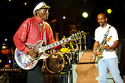 Chuck Berry and son, Charles Berry Jr., performing at Kiener Plaza in St. Louis during a rally concert for St. Louis's bid for the Democratic National Convention in 2010.
