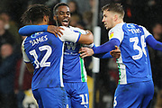 Celebrations at Wigan Athletic forward Gavin Massey scores the opening goal during the EFL Sky Bet Championship match between Derby County and Wigan Athletic at the Pride Park, Derby, England on 5 March 2019.