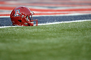 TUCSON, AZ - OCTOBER 28:  An Arizona Wildcats helmet sits on the field prior to the game against the Washington State Cougars at Arizona Stadium on October 28, 2017 in Tucson, Arizona. The Arizona Wildcats won 58-37.  (Photo by Jennifer Stewart/Getty Images)