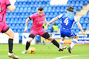 Hartlepool player Nathan Thomas finds room in the box in the first half  during the EFL Sky Bet League 2 match between Colchester United and Hartlepool United at the Weston Homes Community Stadium, Colchester, England on 25 February 2017. Photo by Ian  Muir.