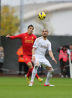Sunday, 25 November 2012..Pictured: Chico Flores of Swansea (R) challenged by Luis Suarez of Liverpool (L)..Re: Barclays Premier League, Swansea City FC v Liverpool at the Liberty Stadium, south Wales.
