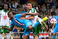 Onderwerp/Subject: Saint Etienne - Willem II - Friendly<br /> Reklame:  <br /> Club/Team/Country: <br /> Seizoen/Season: 2014/2015<br /> FOTO/PHOTO: Clement CABATON (R) of Saint Etienne in duel with Charlton VICENTO (L) of Willem II. (Photo by PICS UNITED)<br /> <br /> Trefwoorden/Keywords: <br /> #04 $94 ±1405930132301<br /> Photo- & Copyrights © PICS UNITED <br /> P.O. Box 7164 - 5605 BE  EINDHOVEN (THE NETHERLANDS) <br /> Phone +31 (0)40 296 28 00 <br /> Fax +31 (0) 40 248 47 43 <br /> http://www.pics-united.com <br /> e-mail : sales@pics-united.com (If you would like to raise any issues regarding any aspects of products / service of PICS UNITED) or <br /> e-mail : sales@pics-united.com   <br /> <br /> ATTENTIE: <br /> Publicatie ook bij aanbieding door derden is slechts toegestaan na verkregen toestemming van Pics United. <br /> VOLLEDIGE NAAMSVERMELDING IS VERPLICHT! (© PICS UNITED/Naam Fotograaf, zie veld 4 van de bestandsinfo 'credits') <br /> ATTENTION:  <br /> © Pics United. Reproduction/publication of this photo by any parties is only permitted after authorisation is sought and obtained from  PICS UNITED- THE NETHERLANDS