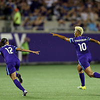 ORLANDO, FL - APRIL 23: Lianne Sanderson #10 of Orlando Pride celebrates her goal during a NWSL soccer match against the Houston Dash at the Orlando Citrus Bowl on April 23, 2016 in Orlando, Florida. The Orlando Pride won the game 3-1.  (Photo by Alex Menendez/Getty Images) *** Local Caption *** Lianne Sanderson