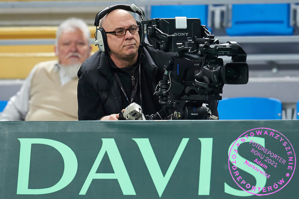 TV cameraman Olaf Beer from TV Multiproduction during third day the Davies Cup / Group I Europe / Africa 1st round tennis match between Poland and Lithuania at Orlen Arena on March 8, 2015 in Plock, Poland<br /> Poland, Plock, March 8, 2015<br /> <br /> Picture also available in RAW (NEF) or TIFF format on special request.<br /> <br /> For editorial use only. Any commercial or promotional use requires permission.<br /> <br /> Mandatory credit:<br /> Photo by &copy; Adam Nurkiewicz / Mediasport
