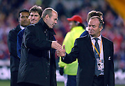 COACHES CLIVE WOODWARD AND GRAHAM HENRY SHAKE HANDS AFTER THE GAME.NEW ZEALAND V BRITISH LIONS, 3RD TEST, EDEN PARK, AUCKLAND, SATURDAY 9TH JULY 2005.