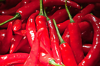 Red hot chilies for sale at the market in Amlapura in Bali, Indonesia