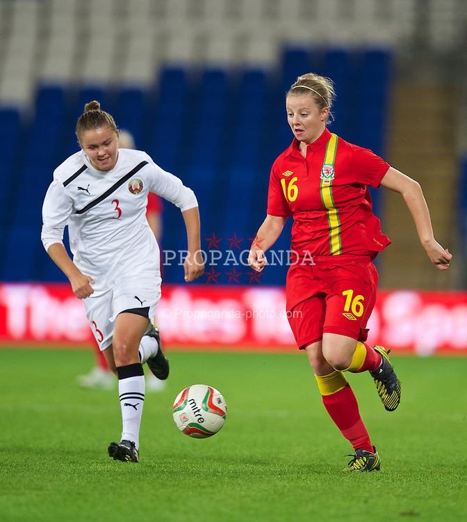 CARDIFF, WALES - Thursday, September 26, 2013: Wales' Hannah Keryakoplis in action against Belarus during the FIFA Women's World Cup Canada 2015 Qualifying Group 6 match at the Cardiff City Stadium. (Pic by David Rawcliffe/Propaganda)