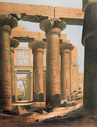 Interior view of the Hall at Karnak'. Lithograph after Karl Richard Lepsius (1810-1884) Prussian Egyptologist. Hippostyle Hall in Karnak temple complex at Thebes (Luxor).  Archaeology Religion Mythology Ancient Egyptian