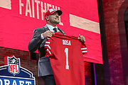 Apr 25, 2019; Nashville, TN, USA; Ohio State defensive end Nick Bosa after being selected by the San Francisco 49ers as the No. 2 pick of the first round during the 2019 NFL Draft. (Kim Hukari/Image of Sport)