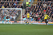 Albert Adomah of Middlesbrough fires in a shot during the Sky Bet Championship match between Burnley and Middlesbrough at Turf Moor, Burnley, England on 19 April 2016. Photo by Simon Brady.
