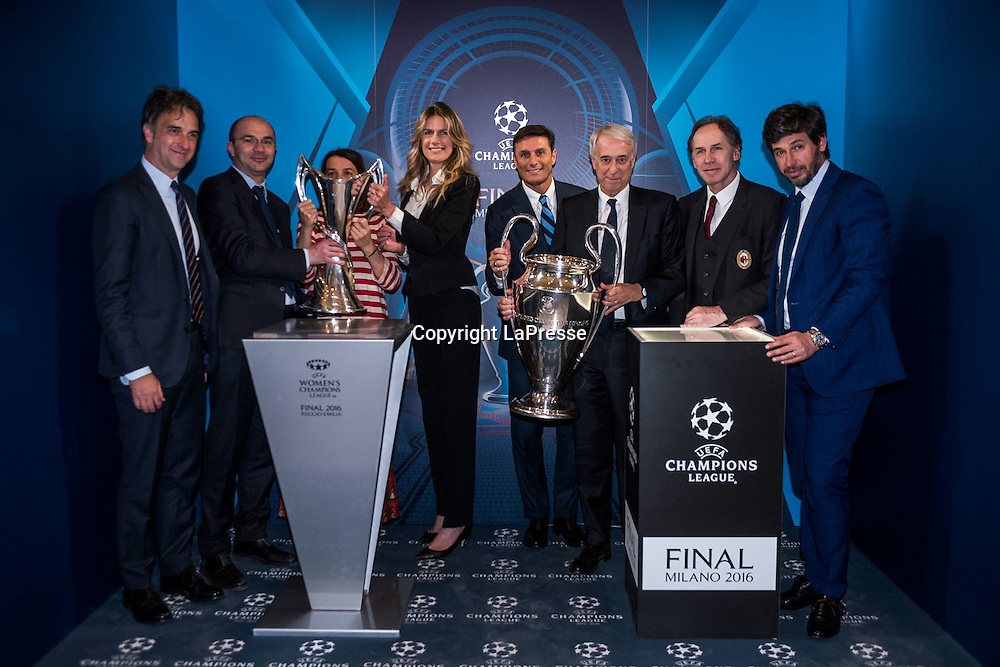 22-04-2016 Milan, Italy.<br /> Opening of the exhibition of the UEFA Champions League Cup at Palazzo Marino.<br /> Photo credit: Cruciatti / LaPresse<br /> In the Photo: Opening of the exhibition of the Eufa Champions League Cup at Palazzo Marino