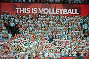 Poland's fans support their team while volleyball final match between Brazil and Poland during the 2014 FIVB Volleyball World Championships at Spodek Hall in Katowice on September 21, 2014.<br /> <br /> Poland, Katowice, September 21, 2014<br /> <br /> For editorial use only. Any commercial or promotional use requires permission.<br /> <br /> Mandatory credit:<br /> Photo by &copy; Adam Nurkiewicz / Mediasport