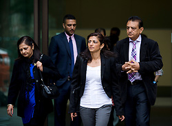 © London News Pictures. 01/07/2013. London, UK.  Family of Anni Dewani L to R Nilam Hindocha (mother) Anish Hindocha (brother) Ami Denborg (sister) and Vinod Hindocha (Father) leaving Westminster Magistrates Court during a break during the extradition hearing of Shrien Dewani on July 1, 2013. Shrien Dewani, is accused of arranging the contract killing of wife Anni in Cape Town in November 2010. Photo credit : Ben Cawthra/LNP