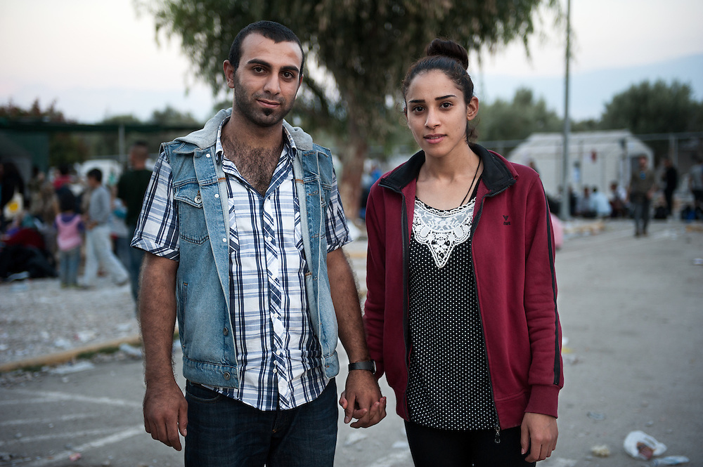 Mamu 21 years old with his wife, Samer 19 years old from Kobani Syria in Kara Tepe camp, Lesvos, Greece
