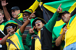 London, 2017-August-04. Jamaican supporters get into the spirit of the games as the first session begins at the London Stadium of the IAAF World Championships London 2017. Paul Davey.