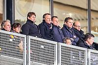 KERKRADE - 20-11-2016, Roda JC - AZ, Park Stad Limburg Stadion, AZ trainer John van den Brom op de tribune na zijn rode kaart, Max Huiberts (l), Robert Eenhoorn  (r)