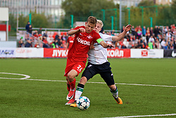 MOSCOW, RUSSIA - Tuesday, September 26, 2017: Liverpool's Edvard Sandvik Tagseth and Spartak Moscow's captain Leonid Mironov during the UEFA Youth League Group E match between Liverpool and Spartak Moscow FC at the Spartak Academy. (Pic by David Rawcliffe/Propaganda)