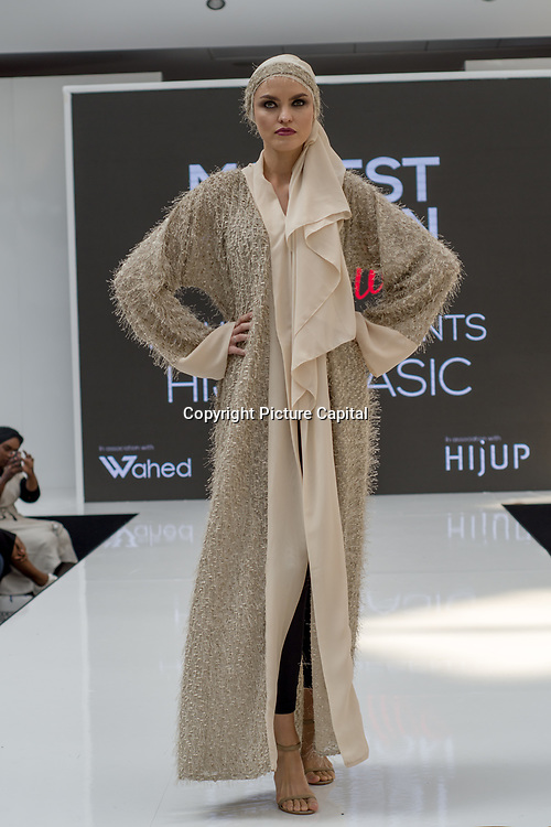 HIJUP UK showcases it latest collection Modest and beautiful at the Modest and Beautiful a Modest Fashion Live at The Atrium in Westfield London on June 24, 2018.