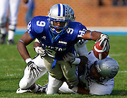 "Hampton junior wide receiver Isiah ""Zeke"" Thomas stretches for this first down during their 28 - 14 loss to Old Dominion at Armstrong Stadium on the campus of Hampton University in Hampton, Virginia.  (Photo by Mark W. Sutton)"