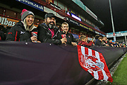 Gloucester fans getting ready for the game the European Rugby Challenge Cup match between Gloucester Rugby and SU Agen at the Kingsholm Stadium, Gloucester, United Kingdom on 19 October 2017. Photo by Gary Learmonth.