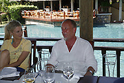 Ruth Cairns and Tim Lott,  Preparing for the Le Prince Maurice Prize. Mauritius. 26 May 2006. ONE TIME USE ONLY - DO NOT ARCHIVE  © Copyright Photograph by Dafydd Jones 66 Stockwell Park Rd. London SW9 0DA Tel 020 7733 0108 www.dafjones.com