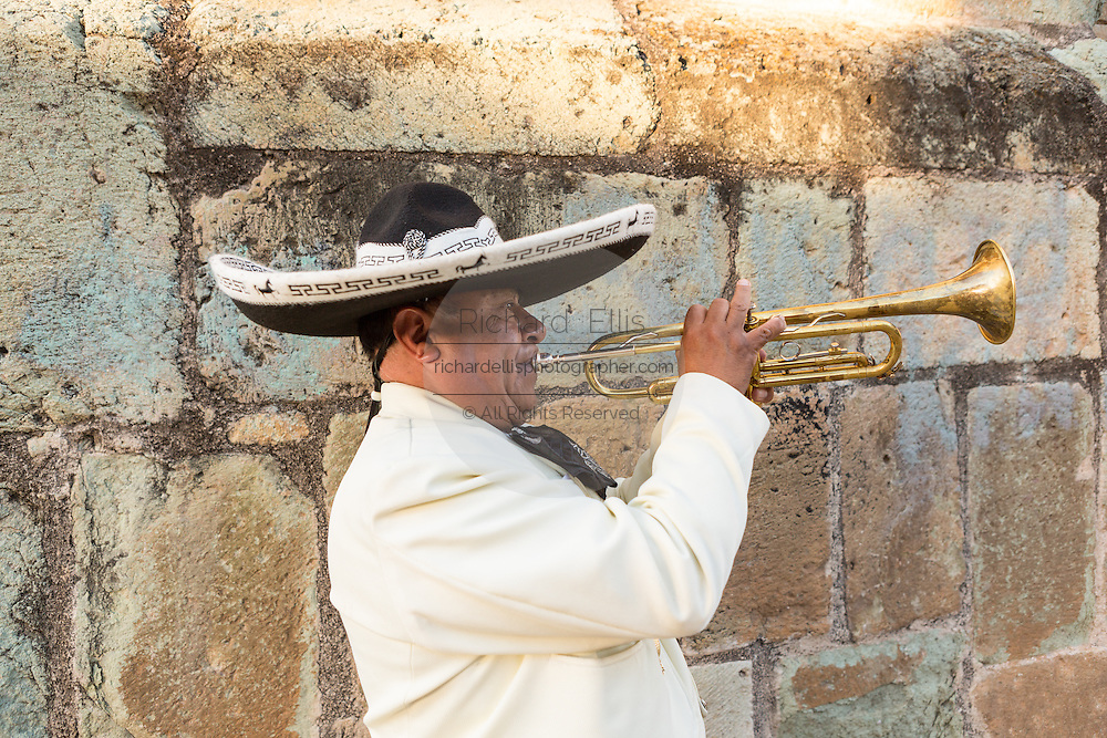 A Mexican mariachi musician dressed in traditional charro costume perform in front of the Santo Domingo de Guzmán Church November 5, 2013 in Oaxaca, Mexico.