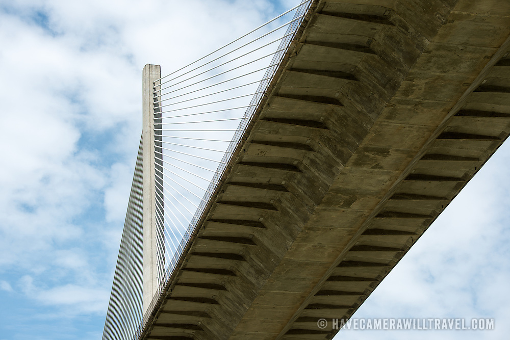 The Centennial Bridge on the Pan American Highway, the newer of the two bridges spanning the Panama Canal near Panama City, Panama.