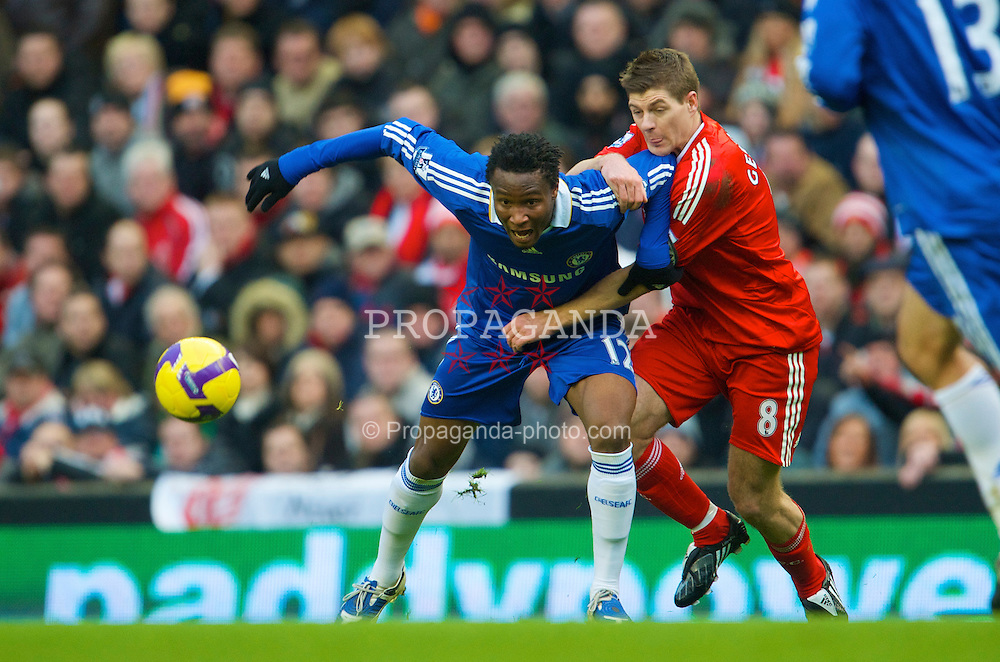 LIVERPOOL, ENGLAND - Sunday, February 1, 2009: Liverpool's captain Steven Gerrard MBE and Chelsea's Mikel John Obi during the Premiership match at Anfield. (Mandatory credit: David Rawcliffe/Propaganda)