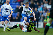 Jay Harris of Tranmere Rovers goes past Forest Green Rovers Reece Brown(10) during the EFL Sky Bet League 2 play off first leg match between Tranmere Rovers and Forest Green Rovers at Prenton Park, Birkenhead, England on 10 May 2019.
