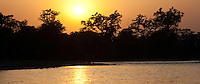 Sunset over a river in Bardiya National Park, Nepal