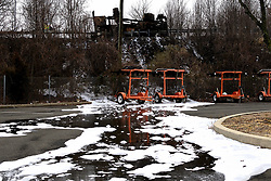 Firefighter foam remains on the surface after firefighters placed a Class B fire under control at an off ramp of the Interstate I-95, in Bensalem Township, Pennsylvania, on February 7, 2019. Aqueous film forming foams (AFFF) used in fighting fires of flammable liquids or flammable gases, oils, solvents and alcohols can contain sodium alkyl sulfate, fluorotelomers, perfluorooctanoic acid (PFOA) or perfluorooctanesulfonicacid (PFOS).<br /> The United States Environmental Protection Agency (EPA) is expected to release updates on tests of per- and polyfuoroalkyl substances or PFAs pollution in public water supplies for 16 million Americans in 33 states, including Pennsylvania. The federal report is delayed due to January 2019 shutdown. Reps. Brian Fitzpatrick, Republican of Bucks County in Eastern Pennsylvania and Democrat Dan Kildee, of Michigan cochair a bipartisan task force in the House of Representatives, formed to take on the growing PFAS Contamination Crisis. The usage of foam at nearby former military bases is linked to tainted drinking water, affecting tens of thousands of residents in Bucks and Montgomery Counties in Eastern Pennsylvania.