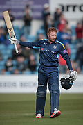 Jonny Bairstow (Yorkshire CCC) acknowledges the standing ovation as he reaches his century. 100 not out during the Royal London 1 Day Cup match between Yorkshire County Cricket Club and Durham County Cricket Club at Headingley Stadium, Headingley, United Kingdom on 3 May 2017. Photo by Mark P Doherty.