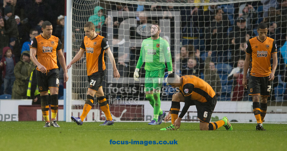 Hull City players look dejected after Burnley take a 1-0 lead during the Sky Bet Championship match at Turf Moor, Burnley<br /> Picture by Russell Hart/Focus Images Ltd 07791 688 420<br /> 06/02/2016
