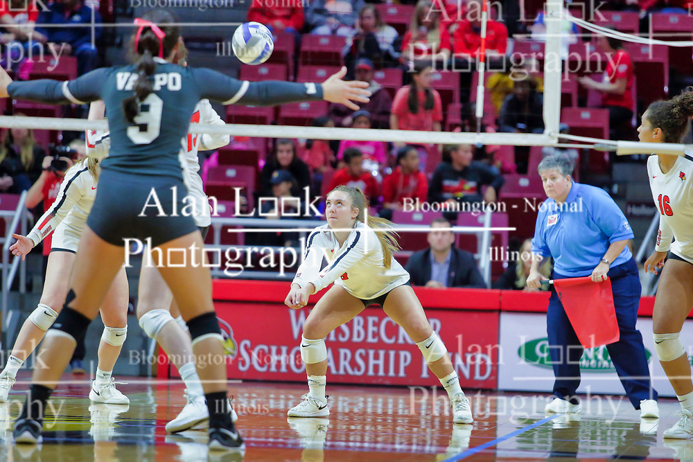 BLOOMINGTON, IL - October 12:  during a college Women's volleyball match between the ISU Redbirds and the Valparaiso Crusaders on October 12 2018 at Illinois State University in Bloomington, IL. (Photo by Alan Look)