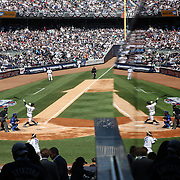 Time to reflect...Alex Rodriguez during his first at bat in a Yankees uniform after his year long ban in the New York Yankees Vs Toronto Blue Jays season opening day at Yankee Stadium, The Bronx, New York. 6th April 2015. Photo Tim Clayton