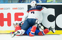 Ken Andre Olimb of Norway and Seth Jones of USA during Ice Hockey match between Norway and USA at Day 2 in Group B of 2015 IIHF World Championship, on May 2, 2015 in CEZ Arena, Ostrava, Czech Republic. Photo by Vid Ponikvar / Sportida
